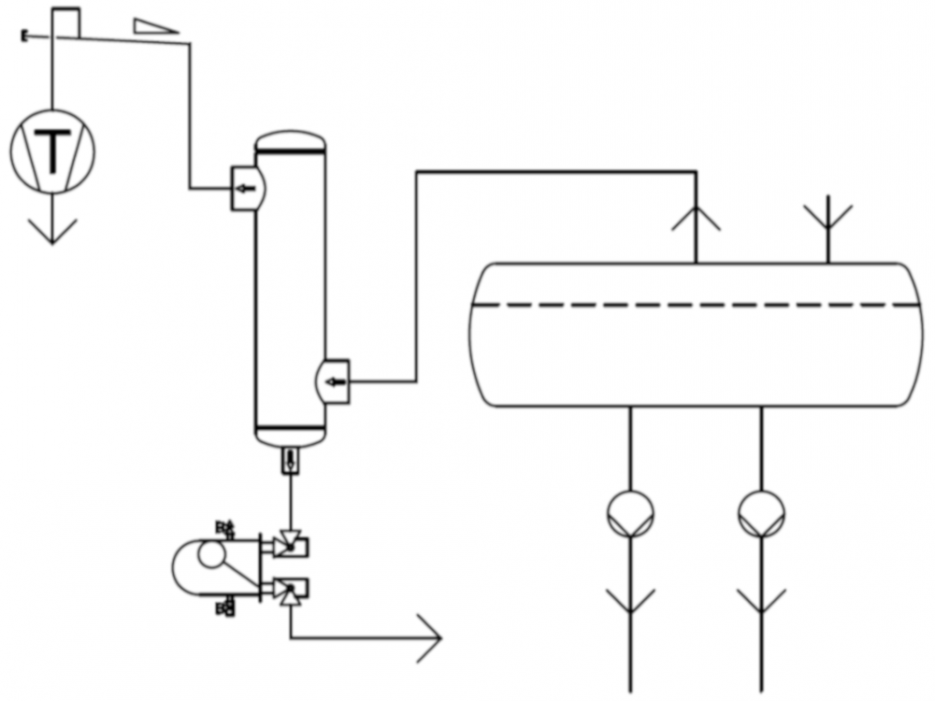 HAD set-up with HR high-pressure float regulator in two-stage refrigeration plants